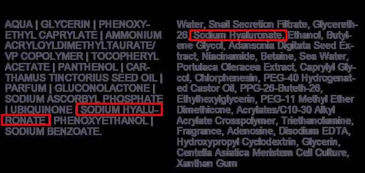 2款不同價位的精華液成分比較,在價位較低的A款中,玻尿酸排在倒數第三位;而在價位較高的B款中,則排在前面第四位