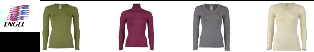 德國品牌Engel恩格爾的4款經典長袖內衣,有V領、圓領和高領的多種顏色可供選擇
