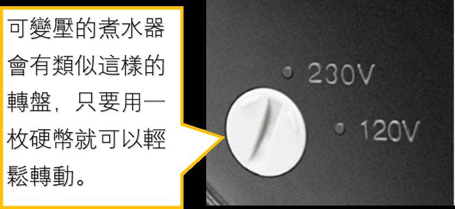 可變壓的煮水器會有類似這樣的轉盤,只要用一枚硬幣就可以輕鬆轉動。