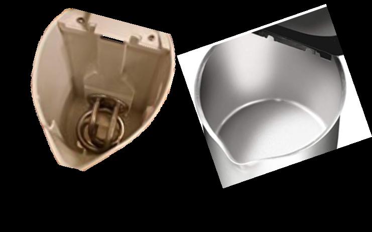 二種加熱方式的比較,左側可以看到加熱線圈,右側則像一般鍋子地步一樣平整