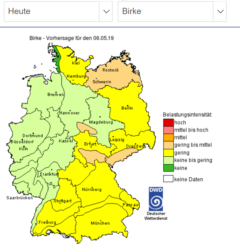德國氣象局的花粉預報,可針對不同種類的花粉進行預測